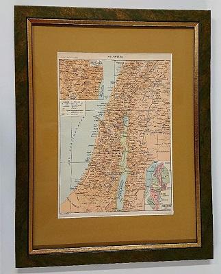 Stara rycina w oprawie – Palestyna – mapa