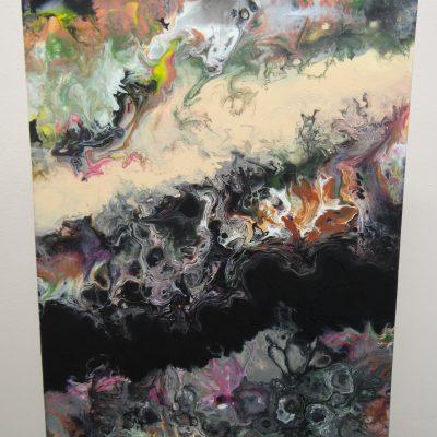 Obraz abstrakcyjny malowany techniką pouringu.